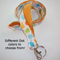 Lanyard  ID Badge Holder - Lobster clasp and key ring - design your own - Urban birds with gold pin dots -  two toned double sided