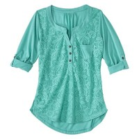Junior's Lace Front Henley - Assorted Colors