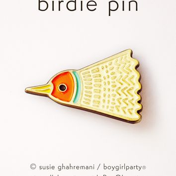 Birdie Pin - Badminton Bird Enamel Pin by boygirlparty