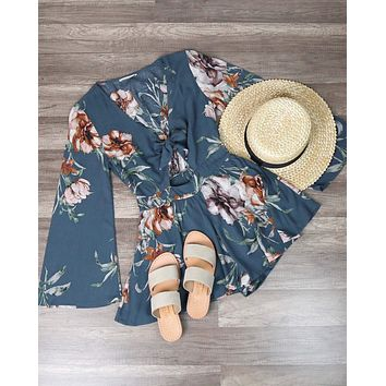 Final Sale - A Love Like This Romper - Floral Hunter Green