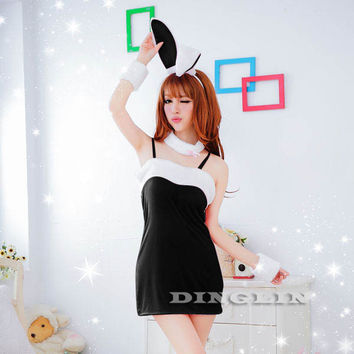 Babydoll Bunny Cosplay Intimate Black Slip Dress