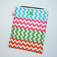 Chevron Patchwork (Turquoise/Pink/Green/Orange) -  iPad 1 or 2 / New iPad / Tablet PC Padded Sleeve Case Cover
