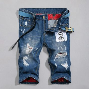 Summer Pants Ripped Holes Slim Jeans [6541768579]