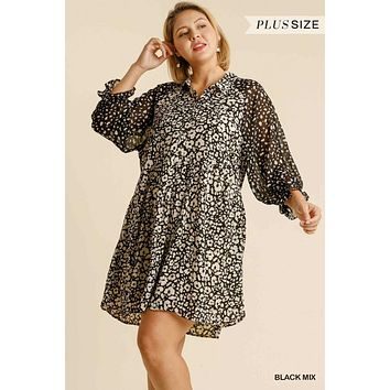 Umgee Plus Size Animal Print Button Front Pocketed Dress