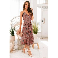 Give Her Flowers Floral Jumpsuit (Mauve)