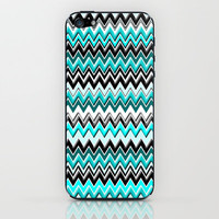 Abstract Art Turquoise, Black and White Chevron Zig Zag Pattern Design by MADART iPhone & iPod Skin by Megan Aroon Duncanson ~ MADART | Society6