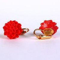 Red flower and gold plated clip on earrings by Khalliahdesign