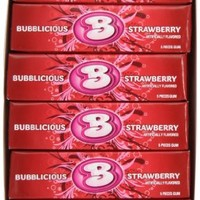 Bubblicious Bubble Gum, Strawberry Splash, 5-Piece Packs (Pack of 36)