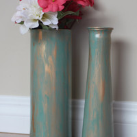 Set of Copper Vases, Turquoise Vase, Patina Vase, Copper Centerpiece, Turquoise Centerpiece, Copper Decor, Turquoise Decor,Hand painted Vase