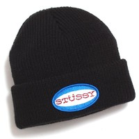 Oval Patch Cuff Beanie Black