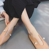Beige Pointed Pearl Flat Loafer