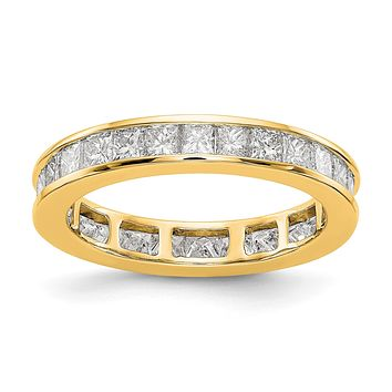 2ct Channel Set Princess Cut Diamond Eternity Wedding Band Ring 14k Yellow Gold