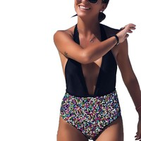 Sexy One-piece Suits Women's One Pieces Swimsuit Sequined Halter Splicing Backless Swimwear Bathing Suits Bodysuits Biquini