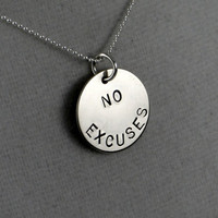 NO EXCUSES 16 inch Sterling Silver Necklace  Workout by TheRunHome