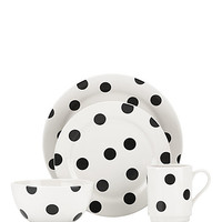 Kate Spade Deco Dot 12 Piece Dinnerware Set Black/White ONE