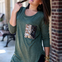 Patchwork Glitter Sparkly Sequin Pockets Long Sleeve T-Shirt