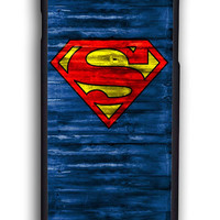 Superman Logo On Wood for Iphone 6 Hard Cover Plastic