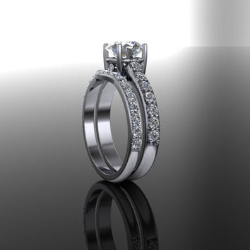 Forever Brilliant Moissanite and Diamond Engagement Ring and Matching Band 2.64 CTW