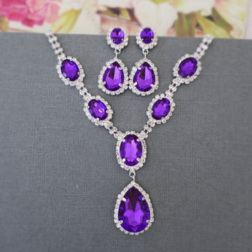 Purple Rhinestone Drop Necklace Earrings, Bridal Jewelry Set, Weddings, Bridesmaids Gift Jewelry