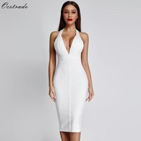 Ocstrade White Bandage Dresses New Arrivals Summer Deep v Neck Sexy Bodycon Dress Women Backless Party Club Dress Black Red