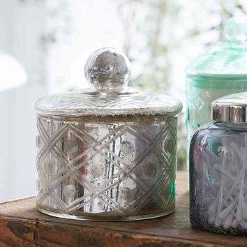Plum & Bow Vintage-Inspired Mercury Glass Canister- Silver One