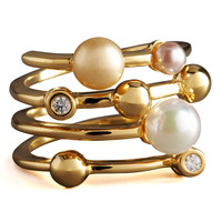 Four-Band Pearl Ring - MAJORICA JEWELRY LTD
