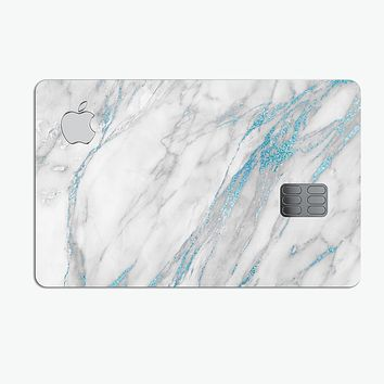 Marble & Digital Blue Frosted Foil V8 - Premium Protective Decal Skin-Kit for the Apple Credit Card