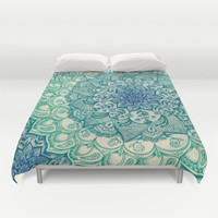 Emerald Doodle Duvet Cover by Micklyn