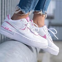 NIKE AIR FORCE 1 SHADOW Fashion Women Leisure Sport Running Shoes Sneakers White&Pink