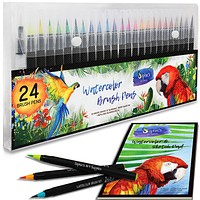 Premium Watercolor Real Brush Pens by Sophie's Art Supplies [24 Pack]