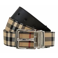 NEW BURBERRY HORSEFERRY CHECK BLACK LEATHER REVERSIBLE LOGO BUCKLE BELT 95/38