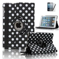 Classy Autos 360 Rotating Polka Dot Leather Folio Case Cover for Apple iPad Mini with Stand (Black)