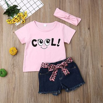 Toddler Girl Clothes Sets Summer Baby Child Outfits Cartoon T Shirt + Denim Shorts