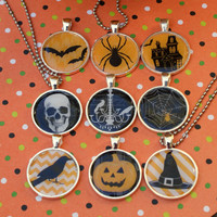 Choice of Halloween Pendant on Ball Chain Witch's Hat Raven Spider Jack o' Lantern Skull Bats Chandelier Haunted House