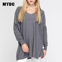 MYDC V-NECK SWEATER wool loose type solid knitted V collar long sleeved female models women new fashion
