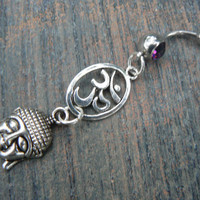 choose 1 buddha ohm belly ring OVAL om buddah PURPLE in zen yoga Indie new age boho gypsy hippie belly dancer beach and hipster style