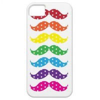 Rainbow Polka Dot Mustaches iPhone 5 Cases from Zazzle.com