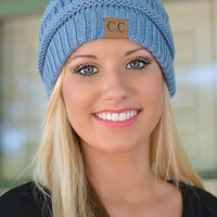 Periwinkle Blue Slouchy Knit Beanie