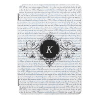 Jane Austen Text White Blue Monogram iPad Case