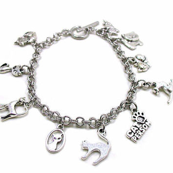 Cat Charm Bracelet, Animal Bracelet, Pet Charm Bracelet, Best Friend Bracelet, Love My Cat Bracelet, Love My Pet, Pet Remembrance Bracelet