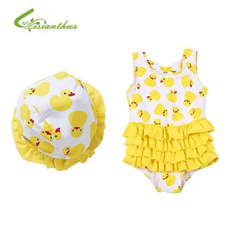 Baby Girls Summer Cute One Pieces Swimming Suite Fashion Bathing Suit Costume Clothing include A Hats Suitable for (0-2 Y)