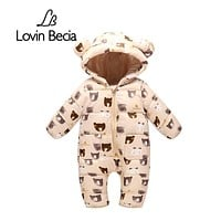 Lovinbecia born Baby girls Rompers Autumn Winter Warm Toddler Hooded Jumpsuit Kids Outwear boys feathers cotton Clothing suit