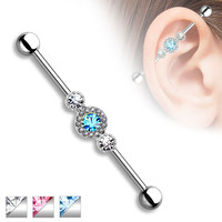 Industrial Barbell Triple Rhinestone Upper Earring Body Jewelry Piercing Jewelry 14ga 316L Surgical Steel