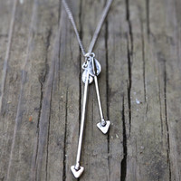 Double Arrow Necklace {Silver}
