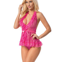 Halter Ribbon Tie Chemise Racy Pink O-s