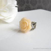 Nature Garden Victorian Inspired Light Peach Rose Blossom Antique Bronze Filigree Flower Ring
