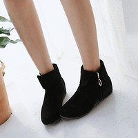 Flock Ankle Boots Wedges Shoes Fall Winter 4252
