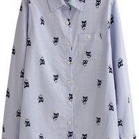 Cat Printed Patch Pocket Long Sleeve Shirt