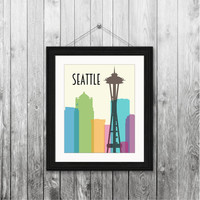 Seattle skyline space needle, 8x10 instant download, printable art, digital print, home decor, housewarming gift modern, colorful city scape