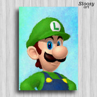luigi print mario wall art nintendo games super mario decor